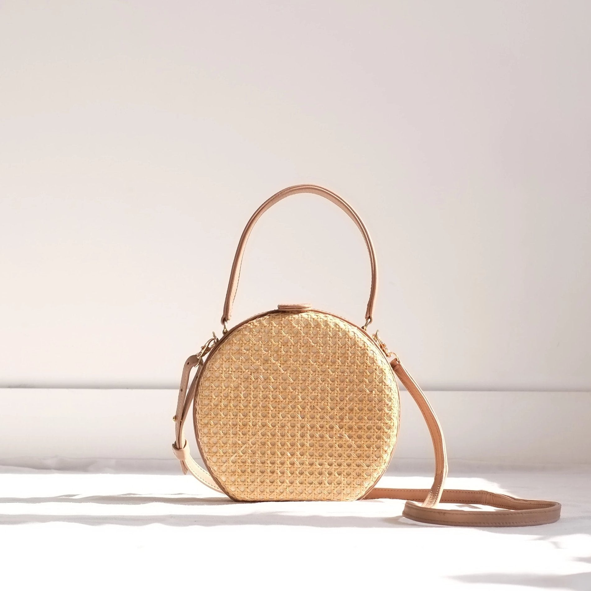 Teresita Mini Round Tote - Nude / Natural