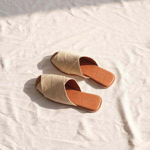 Kara Wide Cross-Strap Slide - Ivory