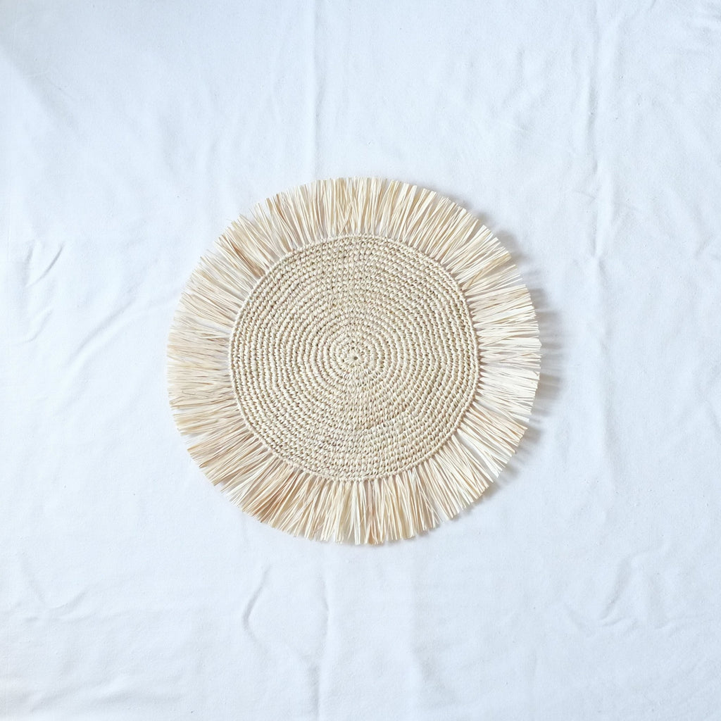 Raffia Fringed Placemat - Natural
