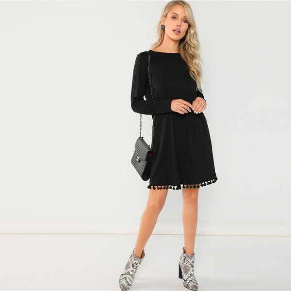 Party Tassel Hem Pocket Long Sleeve Solid Dress UKdress