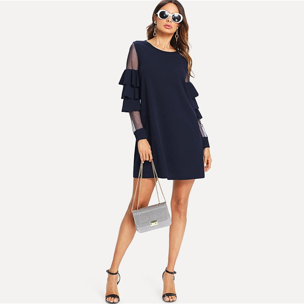 Ruffle Insert Tiered Layered Bell Sleeve Dress UKdress