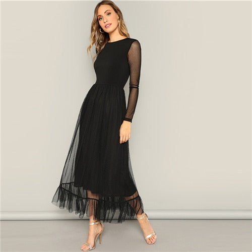 Black Overlay Ruffle Hem Casual Round Neck Long Sleeve High Waist Dresses UKdress