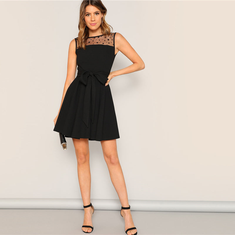 Black Elegant Waist Knot Pleated Mesh Star Yoke Short Dress UKdress