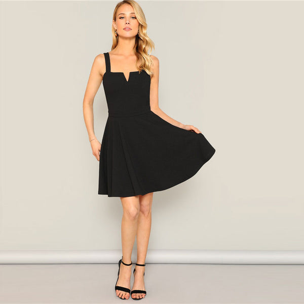 Back Pleated Black Solid Sleeveless V Neck Fit Women Dresses UKdress