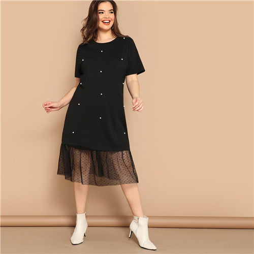 Black Pearl Beading Partchwork Sheer Dot Women Dresses UKdress
