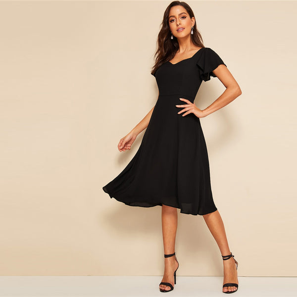Vintage Black Flutter Sleeve Sweetheart Neck Short Sleeve Dresses UKdress