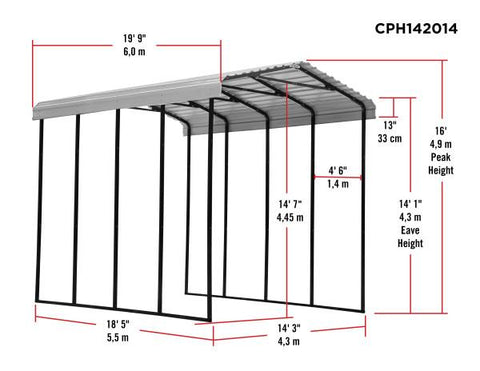 Arrow RV Carport 20x14x14 Multi-use with extensions Carport Arrow Shed