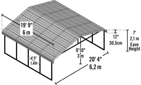 Arrow Shed 20 x 20 Carport Galvanized Steel Roof Carport Arrow Shed