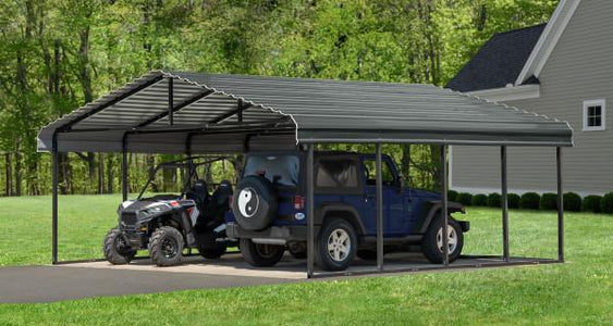 Arrow Shed 20 x 20 Carport Galvanized Steel Roof Carport Arrow Shed Grey