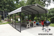 Image of Arrow Steel Carport 12 x 29 x 7 ft. Galvanized Steel Roof Carport Arrow Shed