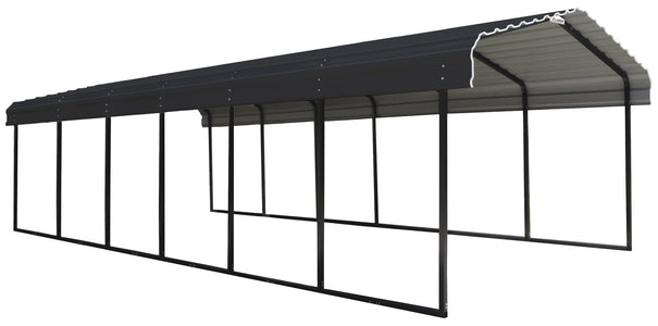 Arrow Steel Carport 12 x 29 x 7 ft. Galvanized Steel Roof Carport Arrow Shed Black/Charcoal