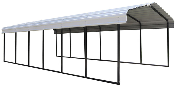 Arrow Steel Carport 12 x 29 x 7 ft. Galvanized Steel Roof Carport Arrow Shed Black/Eggshell