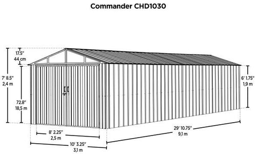 Commander 10x30 Steel Storage Shed Building - The Better Backyard