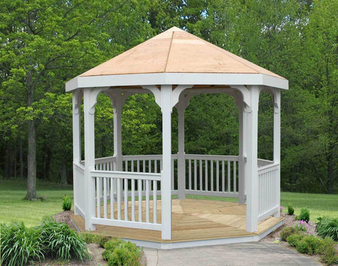 Creekvine Designs 10FT Vinyl  with Pine Deck Gazebo - The Better Backyard