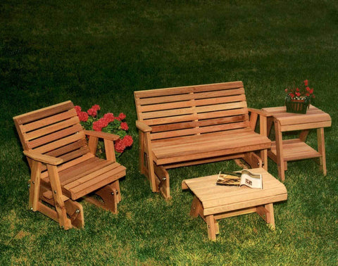 Creekvine Designs Cedar Classic Rocking Gliders & Tables Set - The Better Backyard