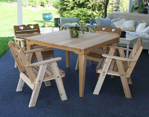 Image of Creekvine Designs Cedar Country Hearts Dining Set - The Better Backyard