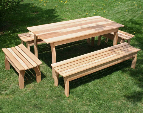 Creekvine Designs Cedar Family Bench Dining Set - The Better Backyard