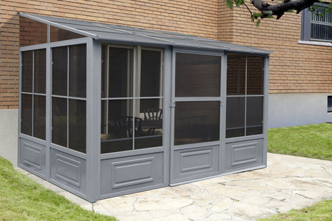 Gazebo Penguin™ Add-a-Room Patio Enclosure Kit with Metal Roof Solarium Gazebo Penguin Grey 8'x12'