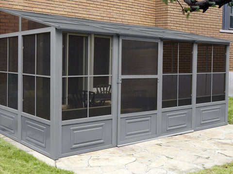 Gazebo Penguin™ Add-a-Room Patio Enclosure Kit with Metal Roof Solarium Gazebo Penguin Grey 8'x16'