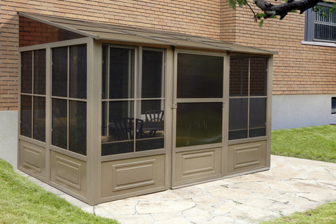Image of Gazebo Penguin™ Add-a-Room Patio Enclosure Kit with Metal Roof Solarium Gazebo Penguin Tan 8'x12'