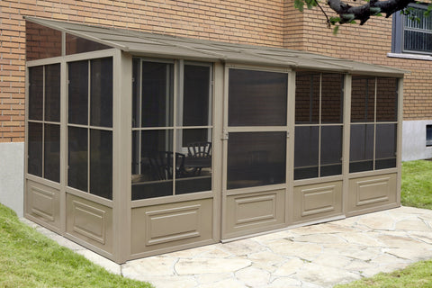 Image of Gazebo Penguin™ Add-a-Room Patio Enclosure Kit with Metal Roof Solarium Gazebo Penguin Tan 8'x16'