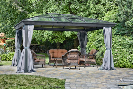 Gazebo Penguin Venice Gazebo with Nettings and Privacy Curtains - The Better Backyard