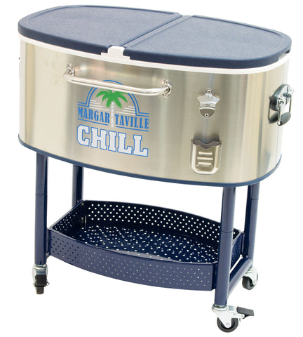 Image of Margaritaville 20 Gallon Rolling Oval Stainless Steel Cooler Cooler Margaritaville