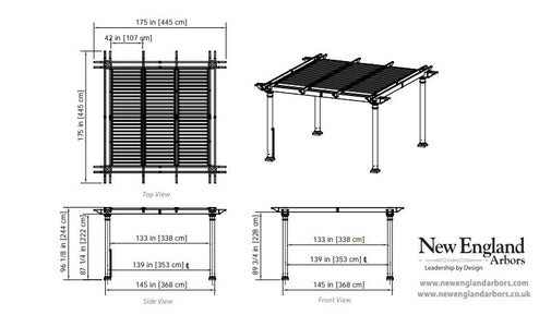 New England 12×12 Aberdeen Pergola Adjustable Louvers Pergola New England Arbors