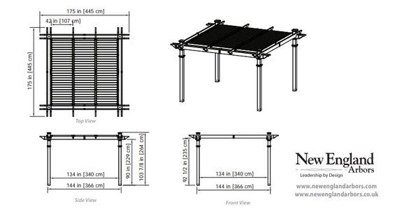 New England 12×12 Camelot Pergola Adjustable Louvers Pergola New England Arbors