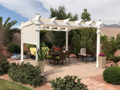 New England 12×12 Monterey Pergola with Shade Cover Pergola New England Arbors
