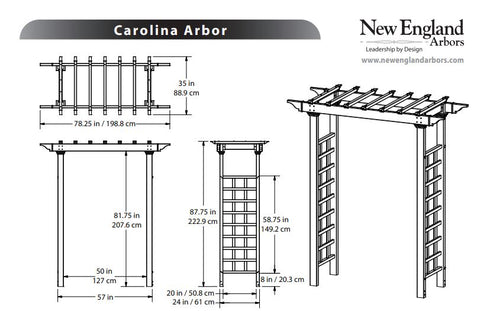 New England Carolina Arbor Wood-Like Vinyl 7'x4' Arbors New England Arbors