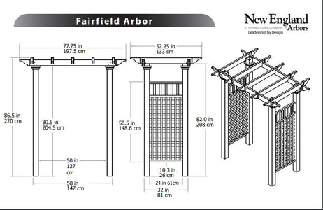 New England Fairfield Arbor Wood-Like Vinyl 5'x2' Arbors New England Arbors