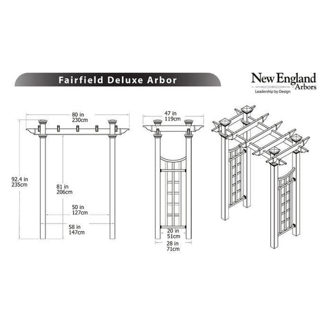 New England Fairfield Deluxe Arbor Wood-Like Vinyl 5'x2' Arbors New England Arbors