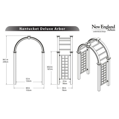 New England Nantucket Deluxe Arbor Wood-Like Vinyl 7'x4' Arbors New England Arbors