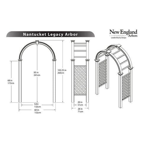 New England Nantucket Legacy Arbor Wood-Like Vinyl 8'x4' Arbors New England Arbors