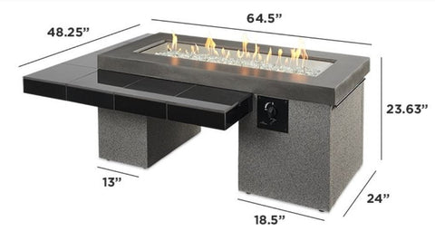 "Image of Outdoor 42"" Uptown Linear Burner Brown/Black Gas Fire Pit Table - The Better Backyard"