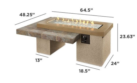 "Outdoor 42"" Uptown Linear Burner Brown/Black Gas Fire Pit Table - The Better Backyard"