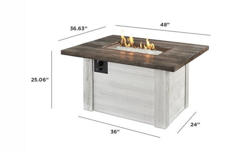 Outdoor Alcott Rectangular Gas Fire Pit Table - The Better Backyard