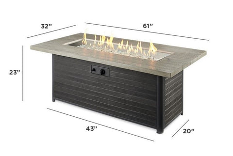 Image of Outdoor Cedar Ridge Linear Gas Fire Pit Table - The Better Backyard