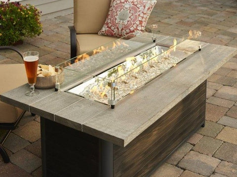 Outdoor Cedar Ridge Linear Gas Fire Pit Table - The Better Backyard