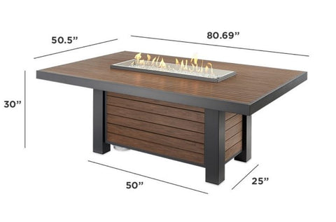 Image of Outdoor Kenwood Linear Dining Height Gas Fire Pit Table - The Better Backyard