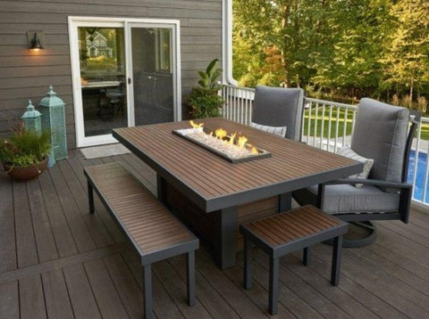Outdoor Kenwood Linear Dining Height Gas Fire Pit Table - The Better Backyard