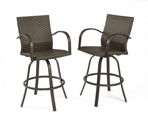 Image of Outdoor Leather Wicker Bar Stools - The Better Backyard