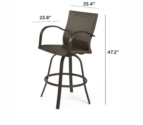 Outdoor Leather Wicker Bar Stools - The Better Backyard