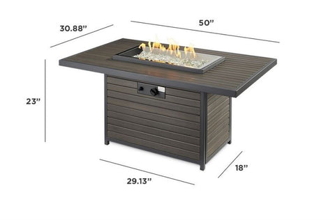 Image of Outdoor Rectangular Gas Fire Pit Table - The Better Backyard