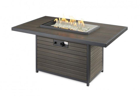 Outdoor Rectangular Gas Fire Pit Table - The Better Backyard