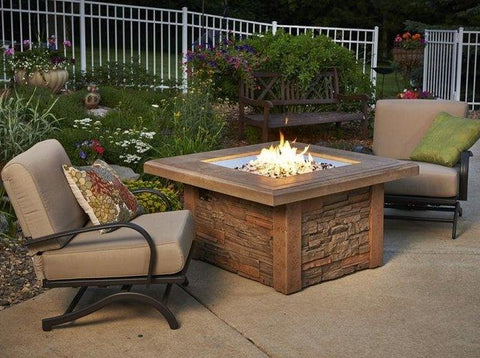 Outdoor  Sierra Square Gas Fire Pit Table - The Better Backyard