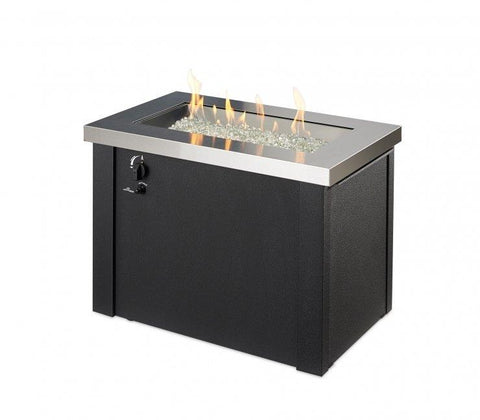 Image of Outdoor Stainless Steel Providence Rectangular Gas Fire Pit Table Fire Pit Outdoor Greatroom Company