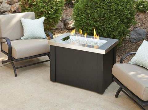 Outdoor Stainless Steel Providence Rectangular Gas Fire Pit Table Fire Pit Outdoor Greatroom Company