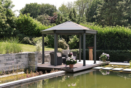 Palram 11 x 14 Ft Roma Aluminum Garden Patio Gazebo - The Better Backyard